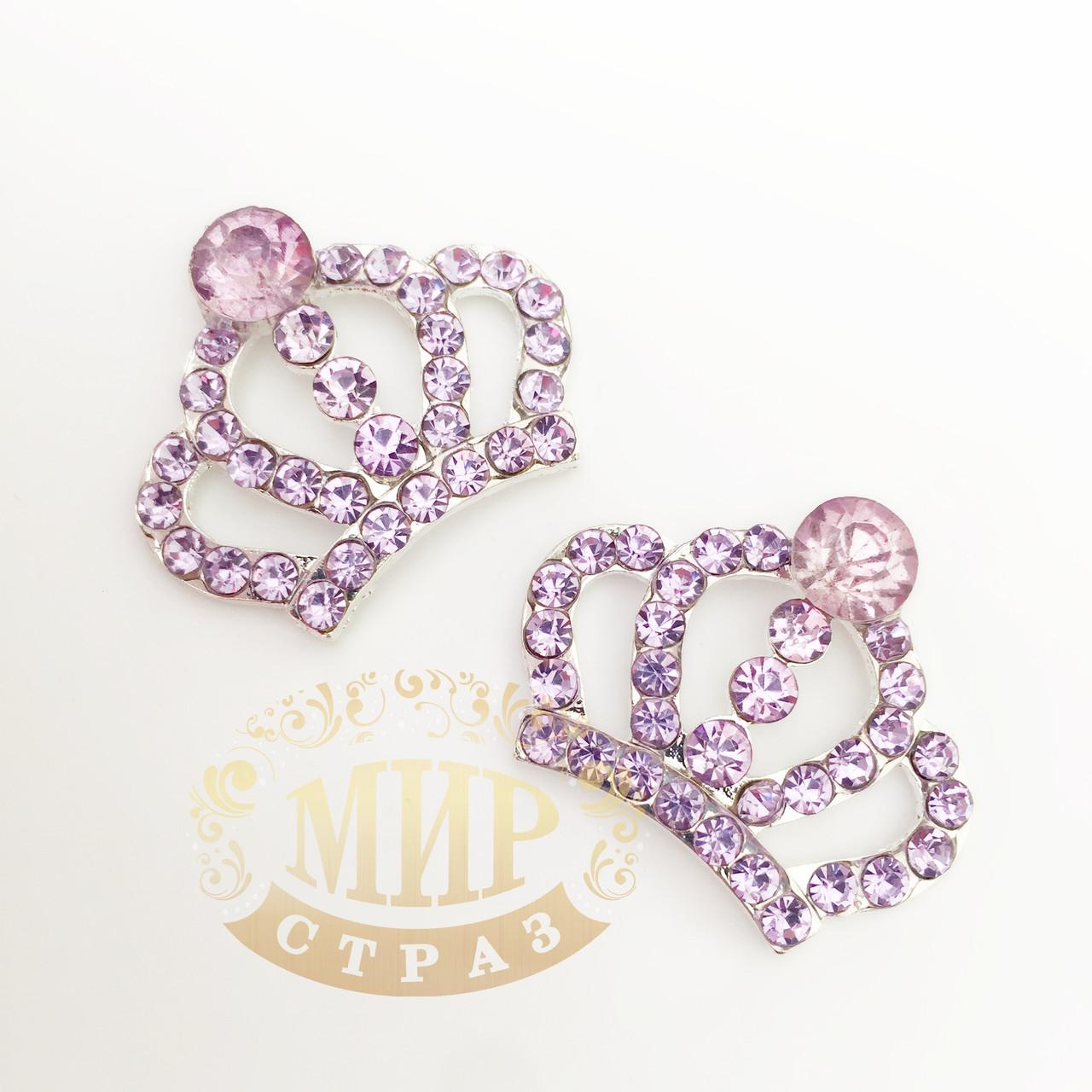 "Металлический декор ""Корона"", цвет Lt Purple, размер 26х32 мм, 1 шт"