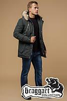 Зимняя мужская куртка с мехом (р. 46-56) арт. 14015С хаки
