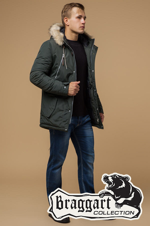 da371db2a09 Зимняя мужская куртка с мехом (р. 46-56) арт. 14015С хаки — купить в ...