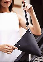 Клатч-сумочка, косметичка кожаная Пирамида черная (ручная работа), фото 1