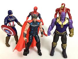 Набор Супергероев Marvel 5шт (Капитан Америка, Человек Паук, Тор, Капитан марвел,Танос) в пакете