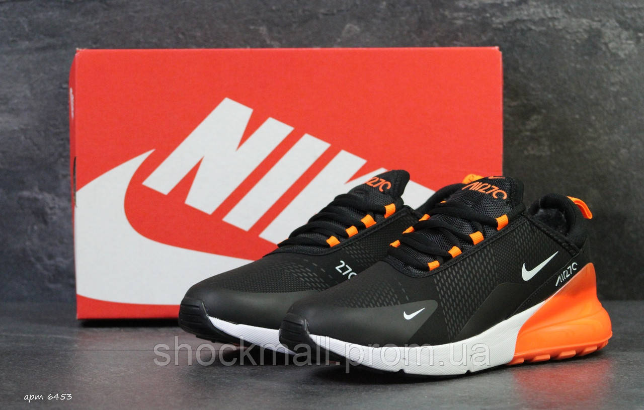 04b8622acf9628 Зимние кроссовки Nike Air Max 270 на меху черные с оранжевым реплика -  Интернет магазин ShockMall