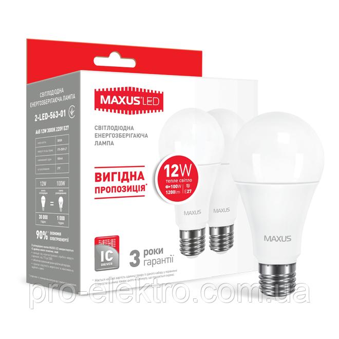 Набор из двух LED-ламп MAXUS A65 12W теплый свет E27 (2-LED-563-01)