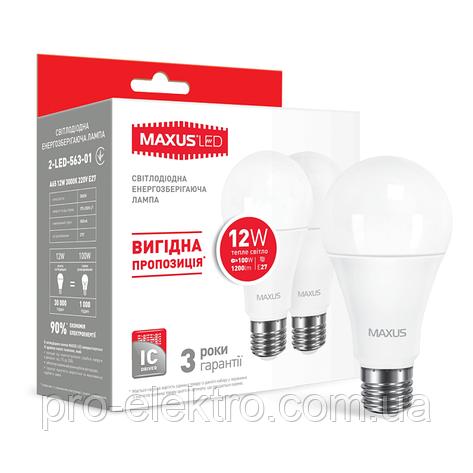 Набор из двух LED-ламп MAXUS A65 12W теплый свет E27 (2-LED-563-01), фото 2