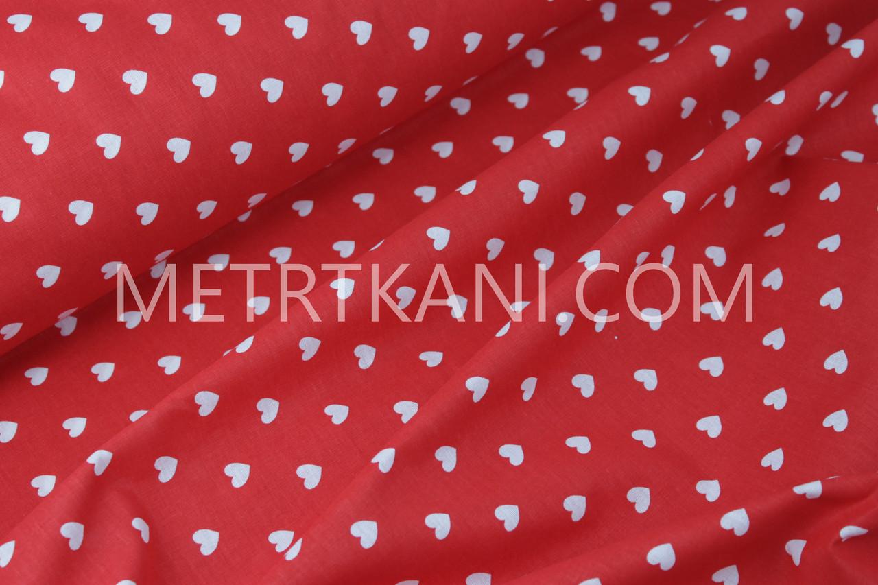 Бязь постельная сердца на красном 220 см135г/кв.м №492941
