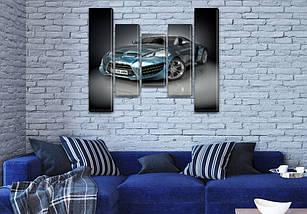 Модульные картины в спальню на ПВХ ткани, 90x110 см, (90x20-2/60х20-2/45x20), фото 3