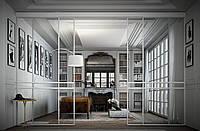 Белая классическая комнатная перегородка с прозрачным стеклом
