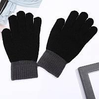 Перчатки зимние шерстяные для мужчин и женщин унисекс черные опт