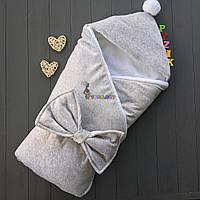 Конверт-одеяло на махре с капюшоном и бубончиком, серый
