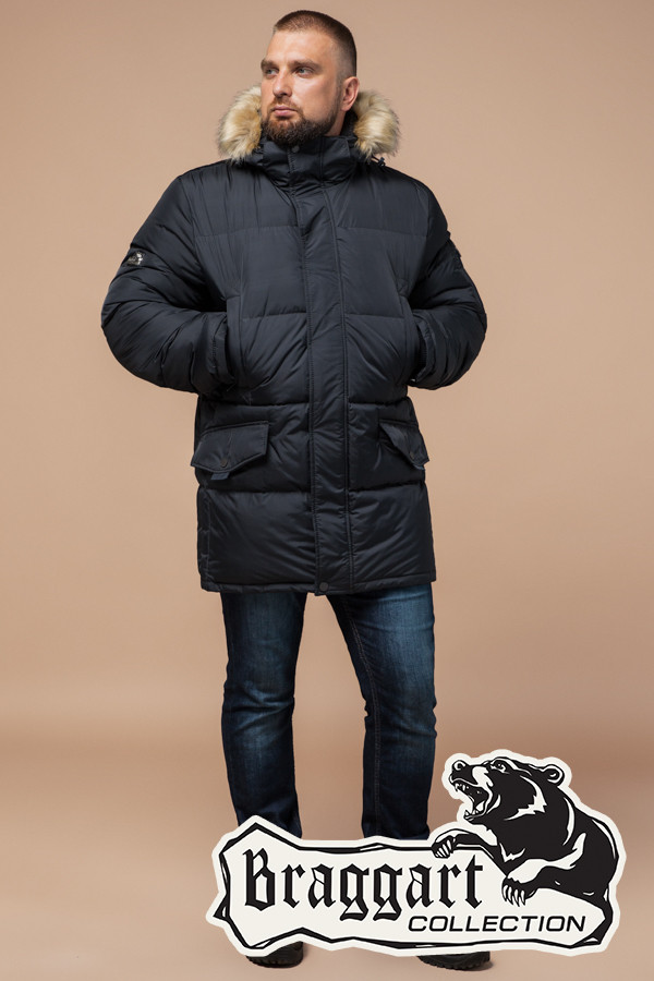Зимняя мужская куртка большого размера Braggart (р. 56-62) арт. 2084 графит