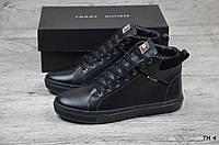 Мужские кожаные зимние ботинки Tommy Hilfiger  (Реплика) (Код: ТН 4  ) ►Размеры [40,41,42,43,44,45]