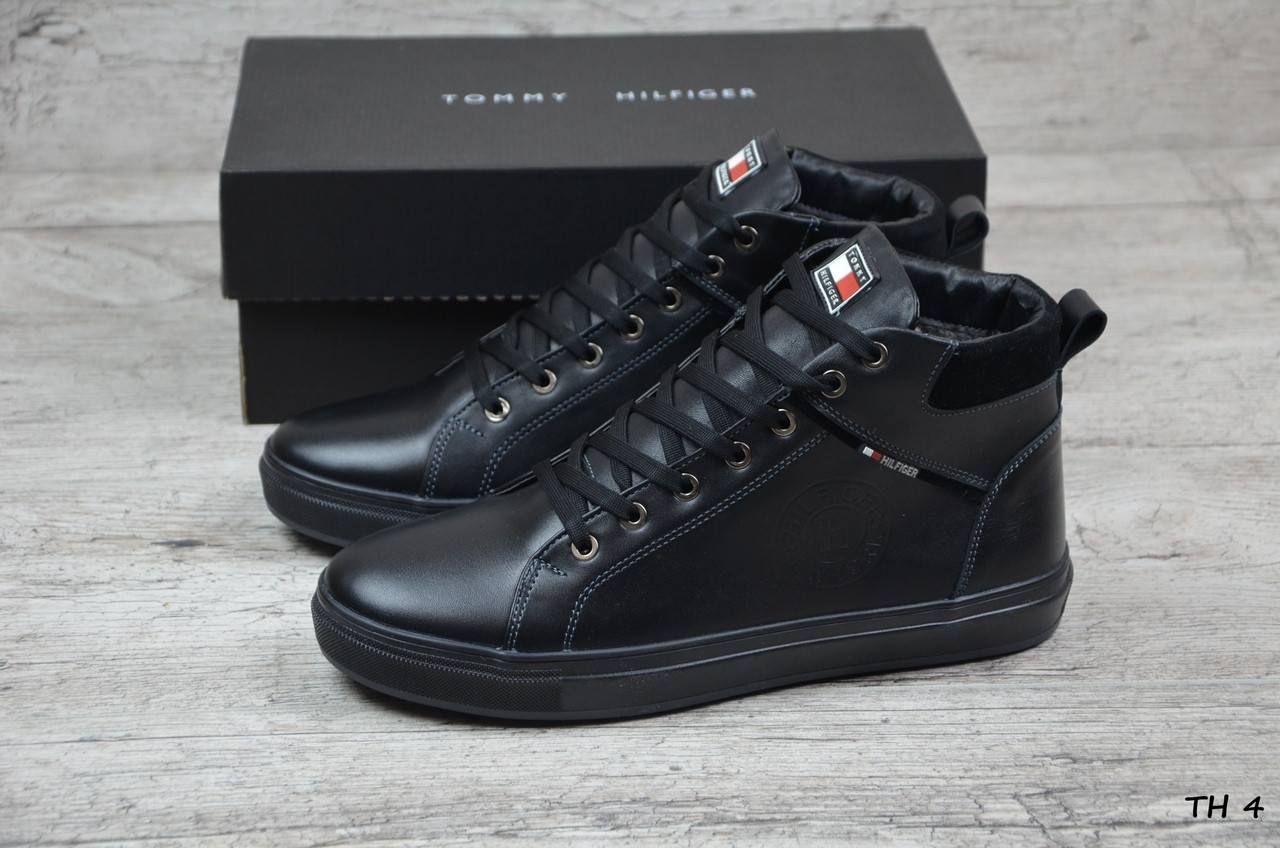 Купить Мужские кожаные зимние ботинки Tommy Hilfiger (Реплика) в ... ab2184794674a