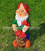 Садовая фигура Гном с мухоморами большой, фото 2