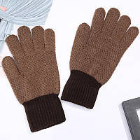 Зимние шерстяные перчатки для мужчин и женщин унисекс коричневые опт