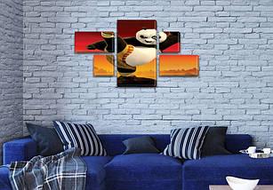 Картина модульная Панда Кунг Фу для детей, 80x140 см, (25x45-2/25х25-2/80x45), фото 3