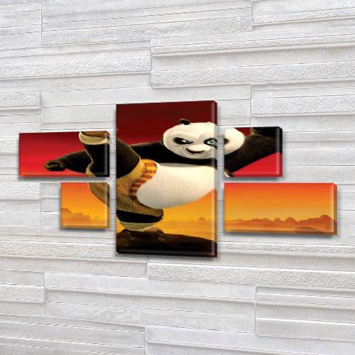 Картина модульная Панда Кунг Фу для детей, 80x140 см, (25x45-2/25х25-2/80x45)