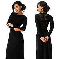 Красивое платье в пол с дорогим набивным гипюром черное