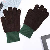 Зимові вовняні темно-коричневі рукавички для чоловіків і жінок унісекс опт