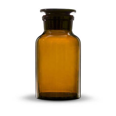 Бутыль для реактивов с пришлифованной пробкой, широкое горло, темная 30 мл, стекло, фото 2