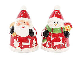 """Емкость для специй (солонка/перечница) Санта со снеговиком """"BonaDi"""""""