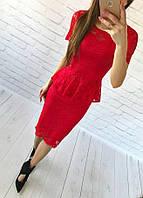 Женский костюм: кофта-баска + юбка с набивного гипюра красный
