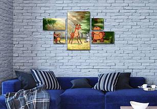 Картина модульная Лесные звери  детская, 80x140 см, (25x45-2/25х25-2/80x45), фото 3