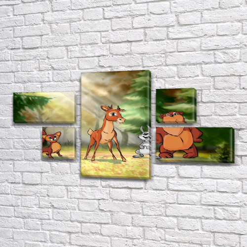Картина модульная Лесные звери  детская, 80x140 см, (25x45-2/25х25-2/80x45)