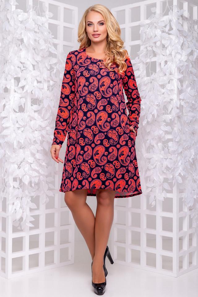 Платье трикотажное, свободное, асимметричное, повседневное, нарядное
