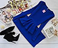 Костюм кофта-баска(длинный рукав)+юбка-карандаш материал кукуруза синий