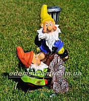 Садовая фигура Гномы скалолазы с фонарем