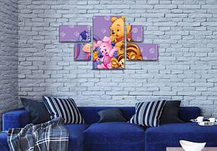 Модульная картина Винни Пух в комнату детскую, 80x140 см, (25x45-2/25х25-2/80x45), фото 3