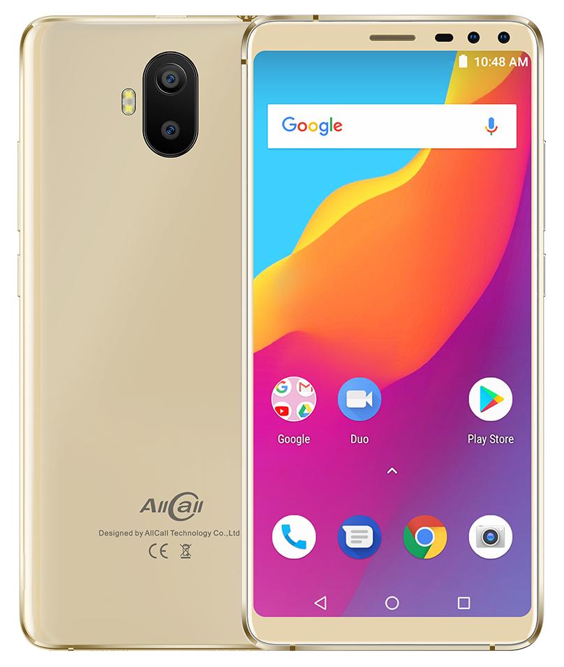 "Смартфон AllCall S1 Gold, 2/16Gb, 8+2/2+2Мп, MT6580A, 2sim, 5.5"" IPS, 5000мАч, GPS, 4 ядра, 3G"