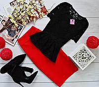Женский костюм: кофта-баска с набивного гипюра черный + юбка миди кукуруза красный