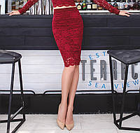 Красивая юбка из набивного гипюра с фестоном, бордо
