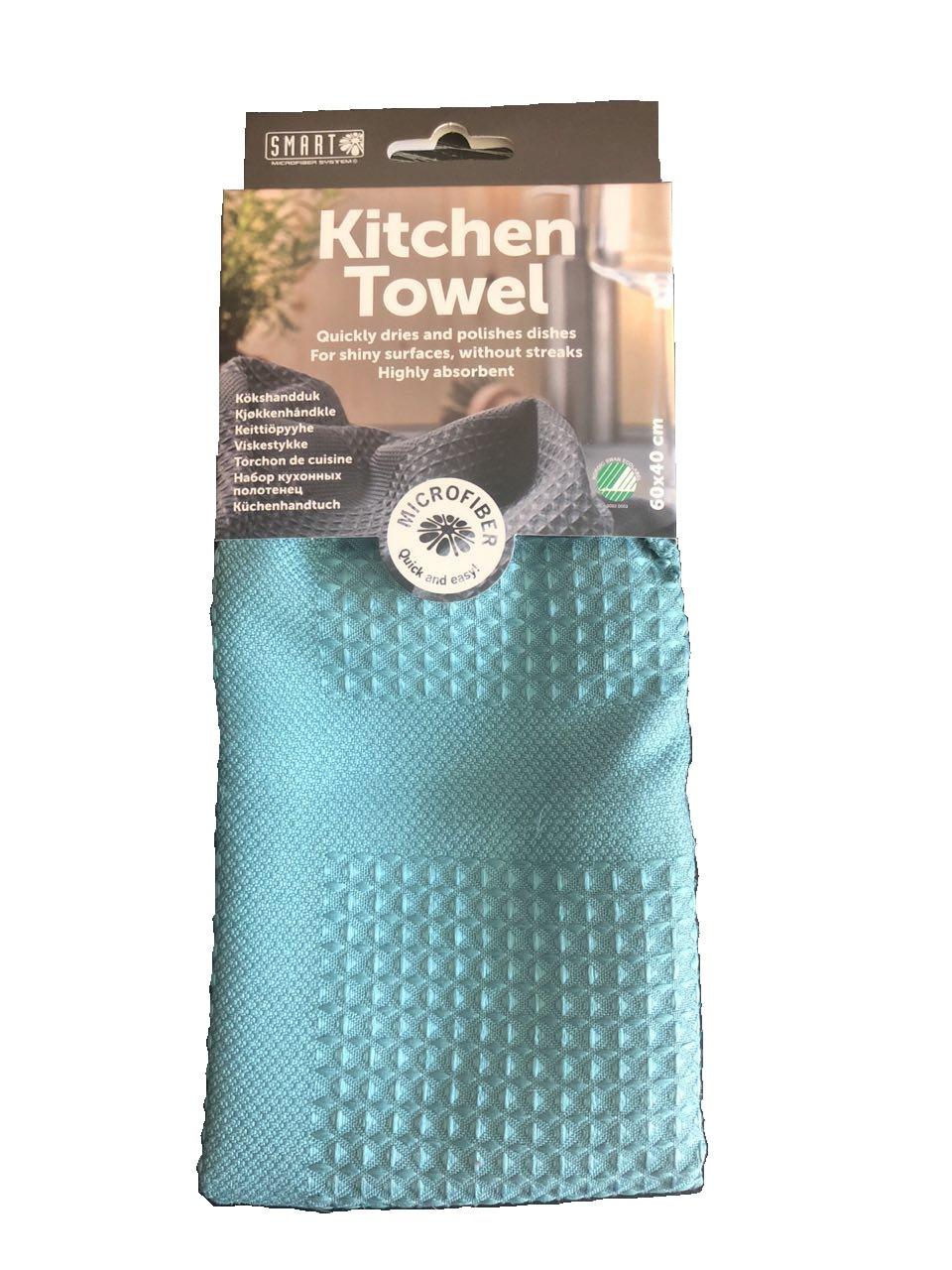 """Кухонное полотенце """"Блеск"""" SMART Microfiber System бирюзового цвета"""