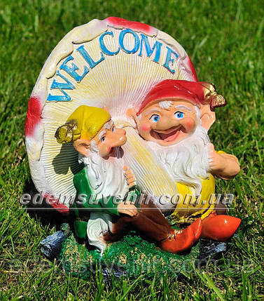 Садовая фигура Два гнома с грибом, фото 2