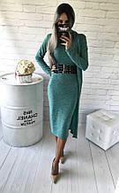 Довгий жіночий кардиган ангора софт, довгий рукав м'ята(40,42,44,46)