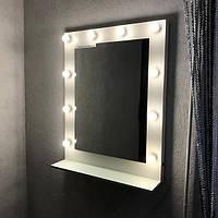 Зеркало для макияжа, зеркало с полкой 800×900 мм. Зеркала визажистов. Гримерные зеркала. Зеркала с лампами.