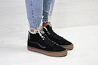 Женские зимние кроссовки в стиле Vans. Код товара: Д - 6504. Черные