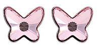 Серебряные серьги-пуссеты Swarovski Light Rose