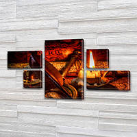 Модульные картины на стену на Холсте, 80x140 см, (25x45-2/25х25-2/80x45)