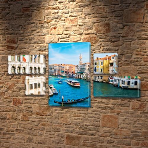 Модульная картина Город на воде  на Холсте, 80x140 см, (25x45-2/25х25-2/80x45)