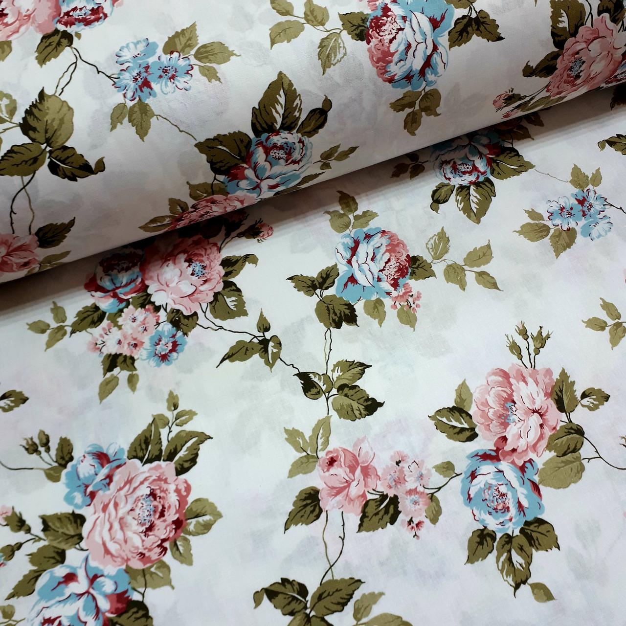 Ткань поплин розово-голубые цветы на белом (ТУРЦИЯ шир. 2,4 м) №32-72