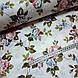Ткань поплин розово-голубые цветы на белом (ТУРЦИЯ шир. 2,4 м) №32-72, фото 3