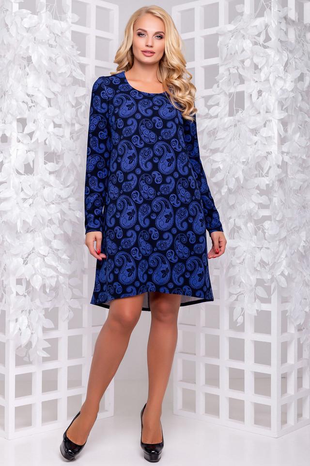 Синее платье с принтом, трикотажное, свободное, асимметричное, повседневное, нарядное