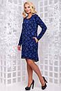 Женское платье, размеры от 50 до 54, трикотажное, синее, свободное, асимметричное, повседневное, нарядное, фото 3