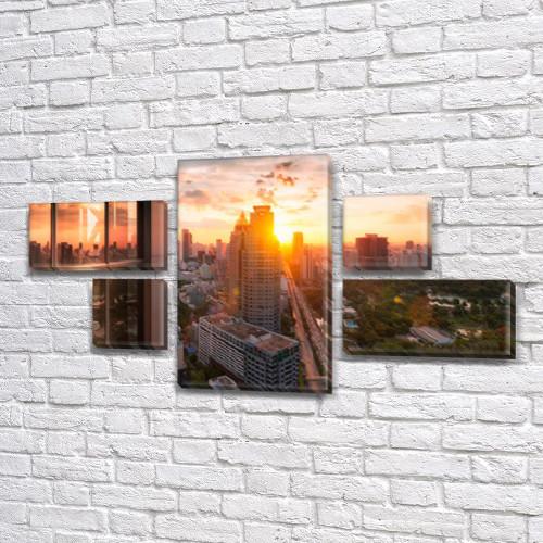 Модульная  картина Промышленный город  на Холсте, 80x140 см, (25x45-2/25х25-2/80x45)