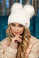 Женская шапка зимняя с помпонами в 9ти цветах 4377, фото 1