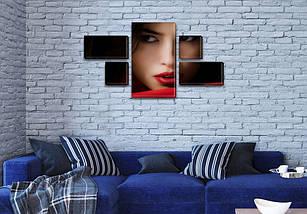 Модульная картина Загадочный взгляд на Холсте, 80x140 см, (25x45-2/25х25-2/80x45), фото 3