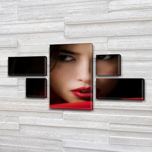 Модульная картина Загадочный взгляд на Холсте, 80x140 см, (25x45-2/25х25-2/80x45)